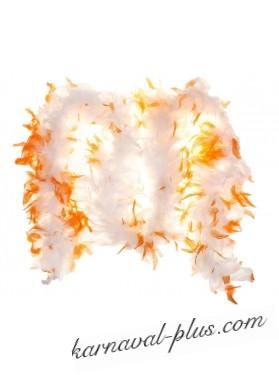 Карнавальный шарф перо 2м 70 гр бело-оранжевый