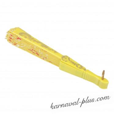 Веер пластик Цветочная ветвь, золото микс