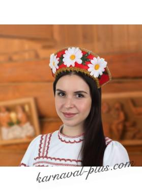 Кокошник Ромашка, цвет красный