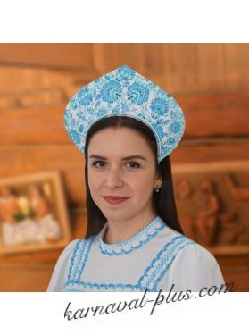 Кокошник Роспись синяя