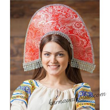 Кокошник Василиса парча жаккард, цвет красный