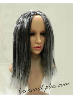 Карнавальный Седой парик Ведьмы с белыми прядями