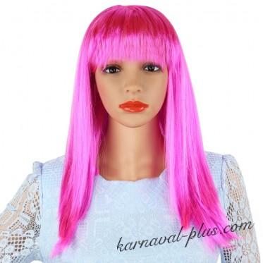 Ярко-розовый парик с челкой, женский