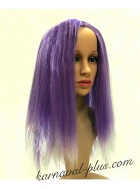 Карнавальный Фиолетовый парик с белыми прядями
