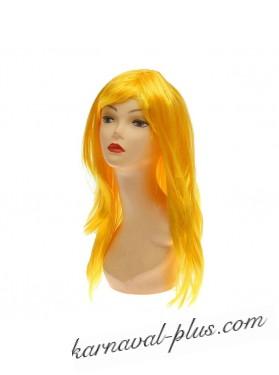 Карнавальный парик Лимонного цвета длинный