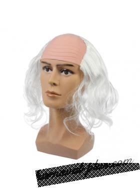Карнавальный парик Лысина с белыми кудряшками