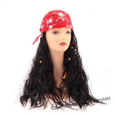 Карнавальный парик с банданой с черепами