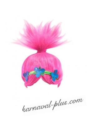 Карнавальный парик тролля Розочки, детский