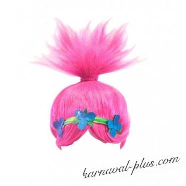 Карнавальный парик тролль Розочка, детский