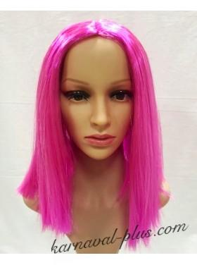 Карнавальный парик Удлиненное каре, цвет розовый