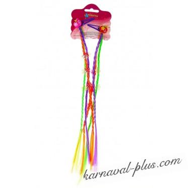 Карнавальный зажим с цветными косичками