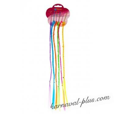 Набор тонких цветных косичек 6шт 40см