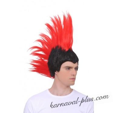 Парик Ирокез черно-красный