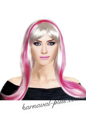 Парик бело-розовый