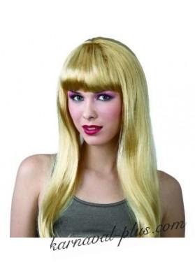 Парик Блондинка длинные волосы с челкой