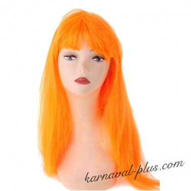 Парик длинные прямые волосы оранжевые