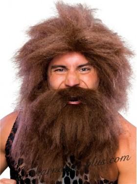 Парик и борода Неандерталец/Дикарь, коричневый/черный