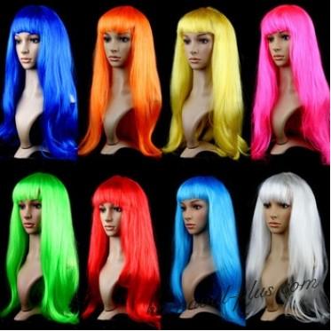 Парик карнавальный с прямыми волосами, цвета микс