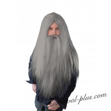 Парик Колдуна длинный серый с бородой