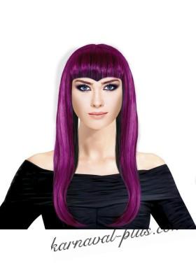 Парик с длинными волосами,сочетание фуксии с черным цветом