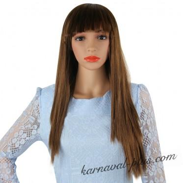 Парик шатенка, с длинными прямыми волосами
