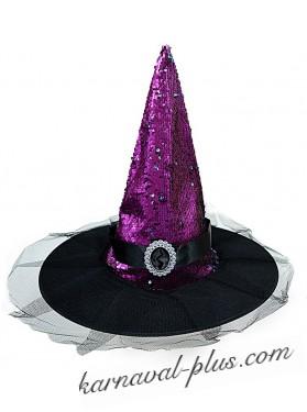 Карнавальная блестящая шляпа Ведьмочки/Феи, цвета микс