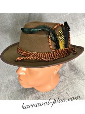 Карнавальная шляпа баварская коричневая с перьями