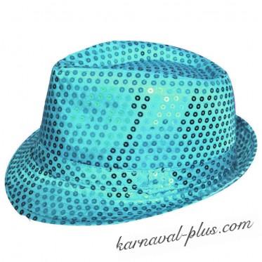 Карнавальная шляпа Диско голубая