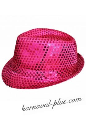 Карнавальная шляпа Диско ярко-розовая