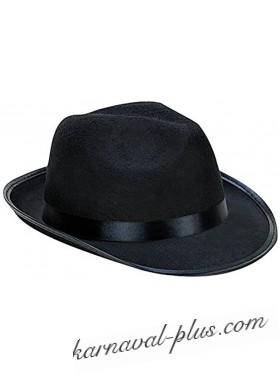 Карнавальная шляпа Гангстер черная с лентой