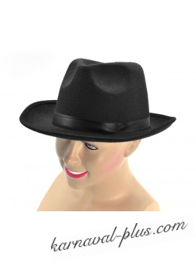 Карнавальная шляпа Гангстер  черная с черной лентой