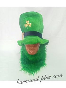 Карнавальная шляпа Лепрекона с цветной бородой