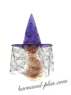 Карнавальная шляпа Ведьма с вуалью и паутиной, цвета микс