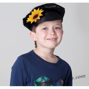 Картуз для взрослого, черный габардин с цветком
