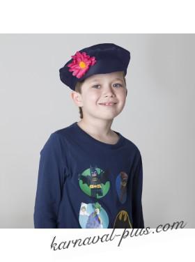Картуз для взрослого, синий габардин с цветком
