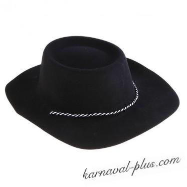Карнавальная шляпа с большими полями черная