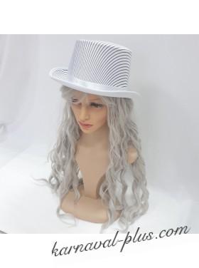 Шляпа Цилиндр белый в черную полоску, сатин