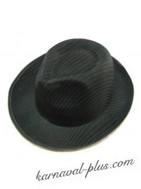 Шляпа Гангстер черная в тонкую полоску, сатин