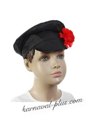 Шляпа Картуз черный с цветком
