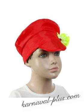 Шляпа Картуз красный с цветком