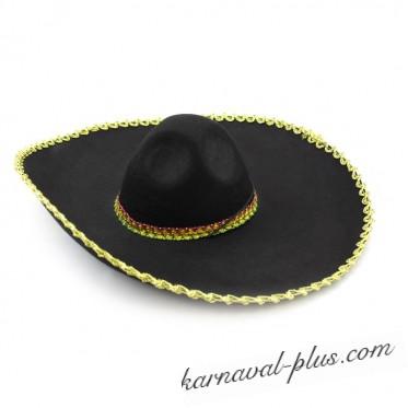 Шляпа Мексиканца Сомбреро с серебряным/золотым кантом