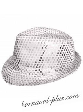 Карнавальная шляпа Диско белая/серебро