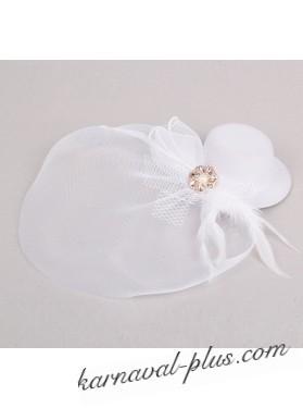 Карнавальный зажим Шляпка и вуалетка белая