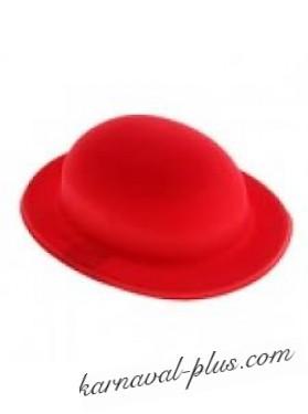 Шляпа котелок пластиковая красная,9*24*28