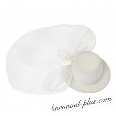 Карнавальная мини шляпка-вуалетка Прелесть с цветком, цвет белый