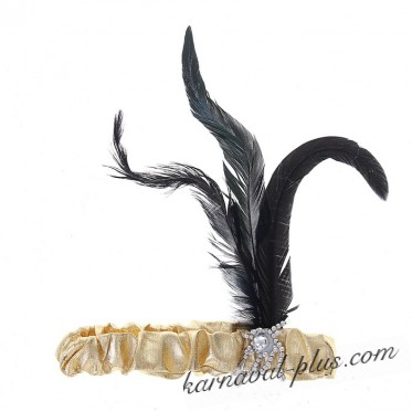 Повязка на голову в стиле Чикаго с перьями золото/серебро