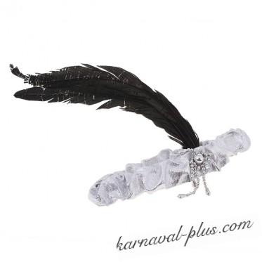 Карнавальная повязка на голову с перьями золото/серебро