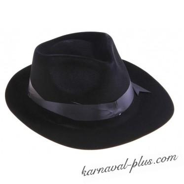 Карнавальная шляпа Гангстер черная с кантом, пластик