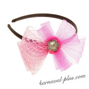 Карнавальный ободок Цветок с камушком, цвета микс