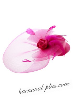 Шляпка вуалетка с вуалькой и розой на зажиме, розовый